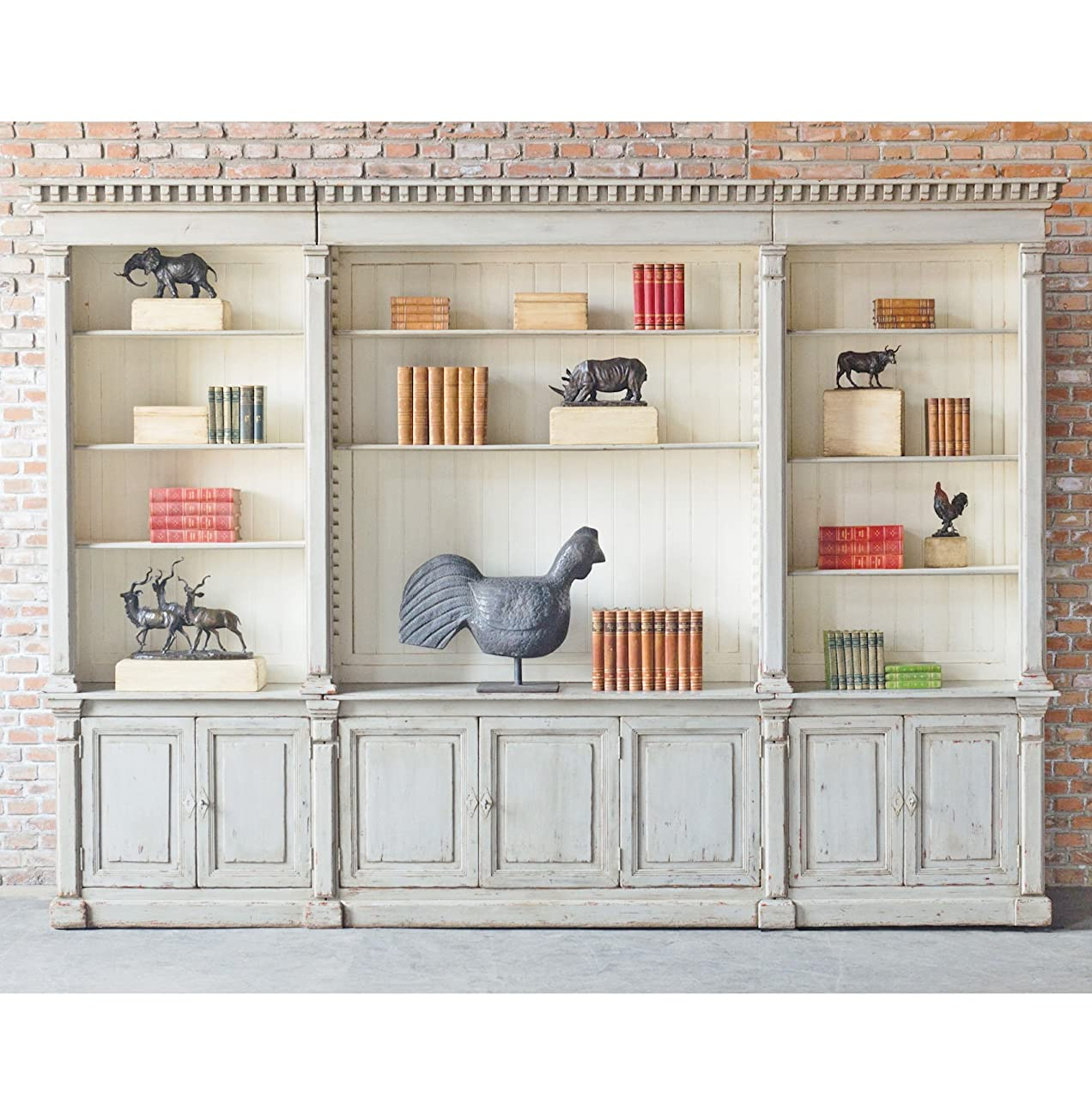 Laundress French Country Distressed Grey Large Display Bookcase 6