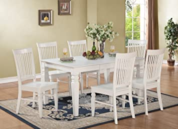 East West Furniture WEST7-WHI-W 7-Piece Dining Table Set