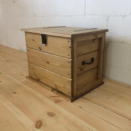 Baúl de pino rústico, hecho a mano, tamaño mediano Mesa de centro Cesta de la ropa Cesta para las mantas