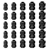 GiBot Cable Glands - 25 Pack Plastic Waterproof 3.5-13mm Cable Glands Joints Wire Protectors, PG 7/9/11/13.5/16, Black (Color: black)