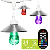 Enbrighten Seasons LED Warm & Color Changing Café String Lights with Stainless Steel Lens Shade, White, 24', 12 Impact Resistant Lifetime Bulbs, Wireless, Weatherproof, Indoor/Outdoor, 43386 (Color: White Stainless Steel, Tamaño: 24 ft.)