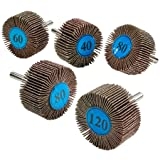 Katzco 5 Pieces 2 X 1 Inch Flap Wheels Set - 4 Different Sanding Sizes - 1/4 Shank Fits All Drills - 40 60 80 and 120 Grits (Color: Brown, Tamaño: 80)