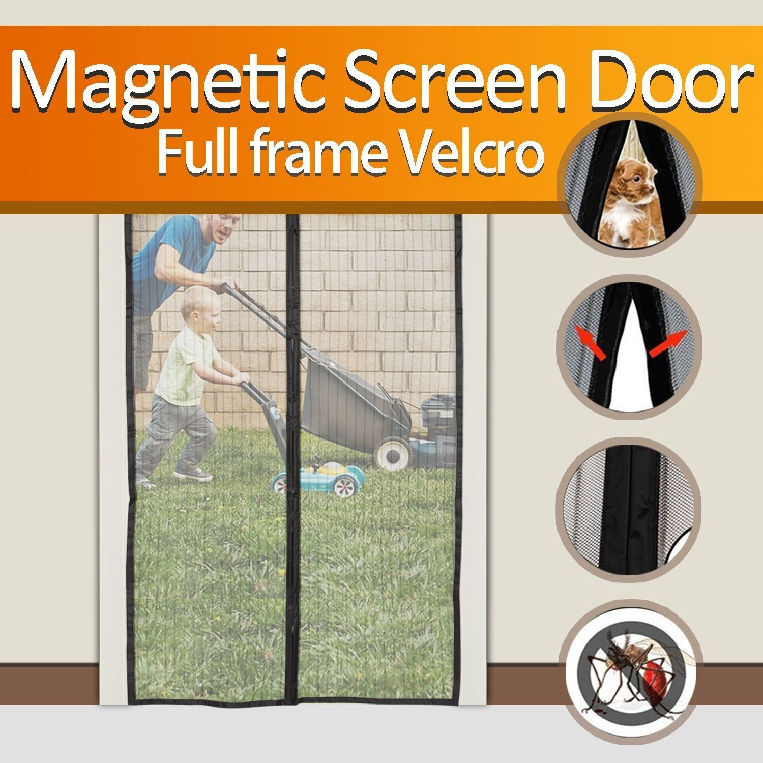 "Magnetic Screen Door, BESTOPE Mesh Curtain - Keeps Bugs Out Let Fresh Air In, Full Frame Velcro Mesh with Top-to-Bottom Seal No More Mosquitos or Flying Insects Fits Doors Up To 34"" x 82"" MAX"