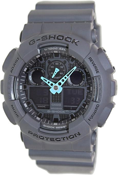 Casio-Men-s-GA-100C-8ACR-G-Shock-Analog-Digital-Display-Quartz-Gray-Watch-Bright-Neon-Blue-Hands