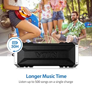Vtin 20 Watt Waterproof Bluetooth Speaker, 25 Hours Playtime Portable Outdoor Bluetooth Speaker, Wireless Speaker for iPhone, Shower, Pool, Beach, Car, Home-Pure Black (Color: A-Black, Tamaño: 2.76 x 2.80 x 7.09 inches)