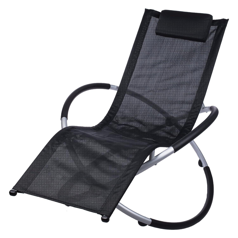 schwarze relax aluminium sonnenliege inklusive nackenkissen gartenliege poolliege. Black Bedroom Furniture Sets. Home Design Ideas