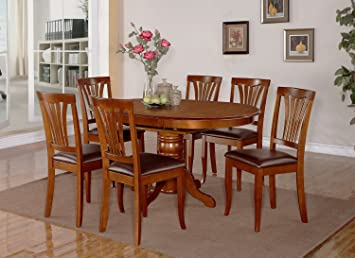East West Furniture AVON7-SBR-LC 7-Piece Dining Table Set
