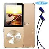 Mp3 player, Frehoy 8GB Portable MP3 Player(Expandable Up to 128GB), Music Player/Voice Recorder/FM Radio with HD Headphone (Gold) (Color: Gold)