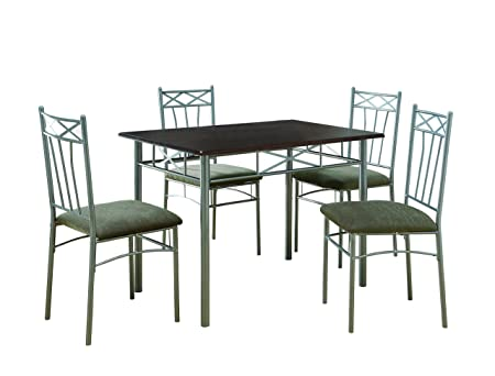 Cappuccino/ Silver Metal 5 Piece Dining Set