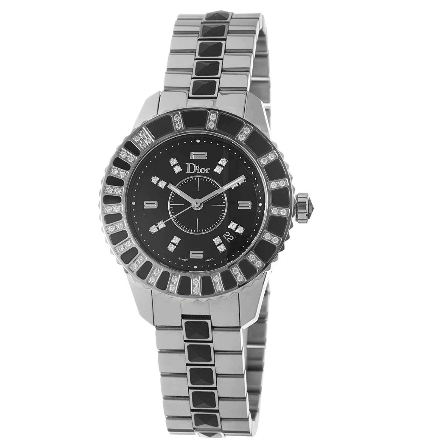 Christian dior christal diamond accented black dial women 39 s watch cd113115 new ebay for Christian dior watches