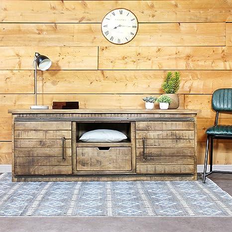 Mueble de televisión industrial de madera/IF626A claro