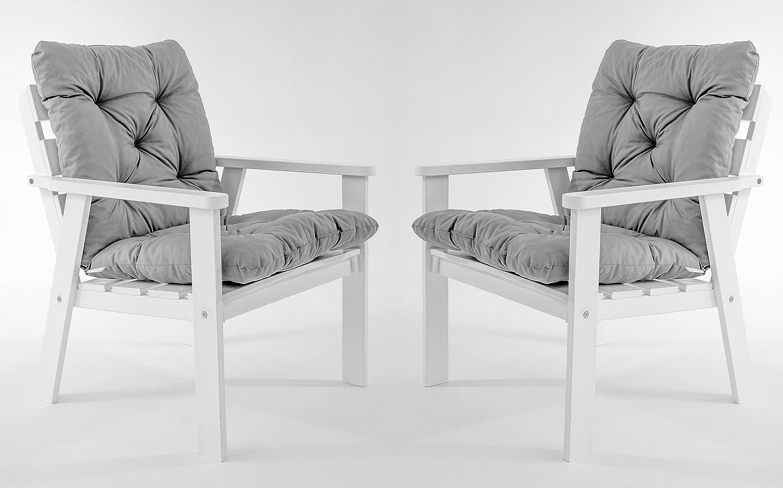 GARDENho.me 2er Set Massivholz Sessel Gartenstuhl Stuhl HANKO inkl. Kissen Nordisches Design Weiß
