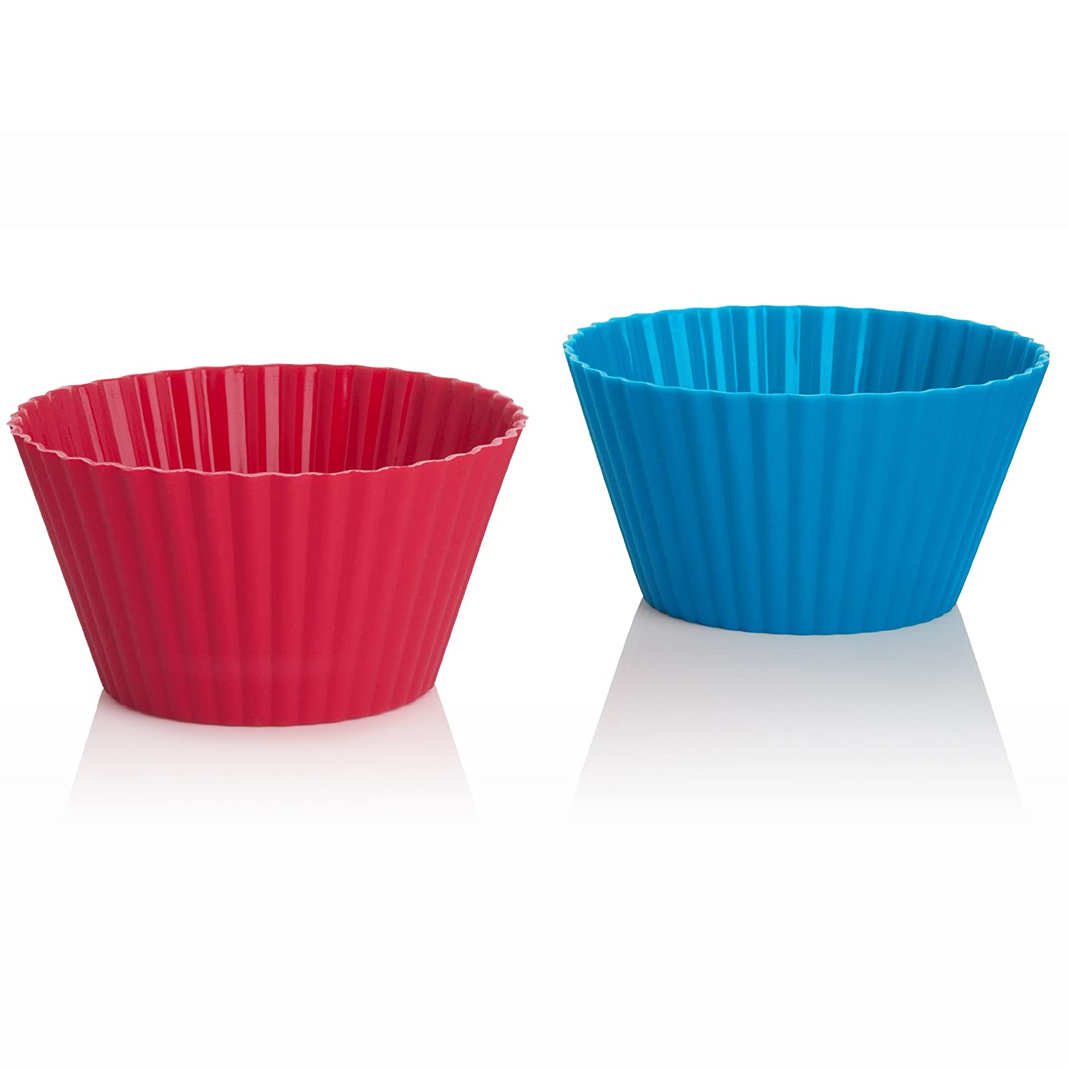 Image: Trudeau Silicone Muffin Cups - Fun and festive assorted colors; set includes red, green and blue colored cups