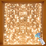 Kohree Curtain Lights, Wedding Light Remote Control Outdoor Indoor Icicle String Lights for Christmas, Home, Church, Balcony, Holiday, Party Decorations, Warm White, 300 Leds 8 Mode, UL Certified (Color: curtain light 9.8ft x 9.8ft)