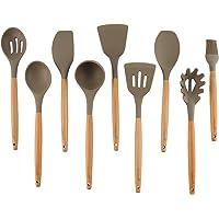 Unilove Home Kitchen Utensils Set 9 Piece Silicone Utensil Wood Cooking Utensils