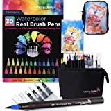 Gift Pack 30 Watercolor Brush Pens, Matching Messenger Bag and Watercolor Pad, Custom Folding Upright Pen Case, 24 Colors 6 Water Brushes, Real Nylon Brush Tips, Watercolor Painting, Low Mess, Cat (Color: Cat)
