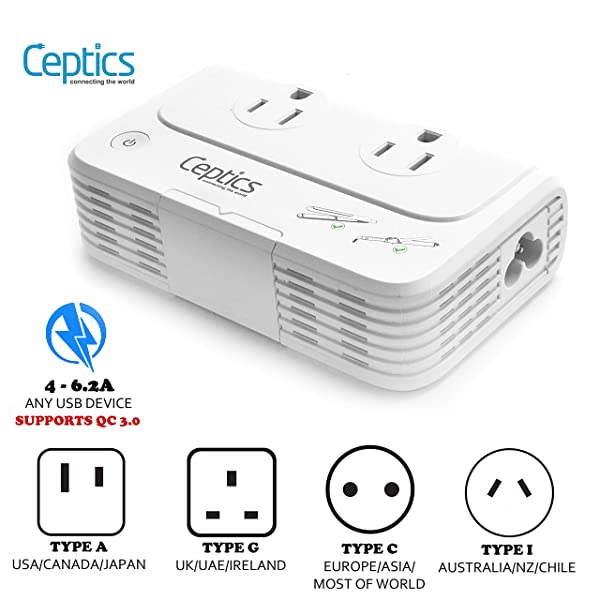 LOFTWELL International Step Down 220V to 110V Converter with 4-Port USB Charging Worldwide Plug Adapter with UK//AU//US//EU//Italy Plug for International Travel Voltage Converter Travel Adapter