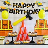 Construction Birthday Banner Dump Truck Party Decorations Pre-Assembled Builder Bulldozer Excavator Tank Truck Garland Supplies