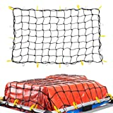 OrionMotorTech 3'x4' to 6'x8' Heavy Duty Latex Cargo Net with 12 Tangle-Free D Clip Carabiners + 12 Nylon Hooks, Small 4