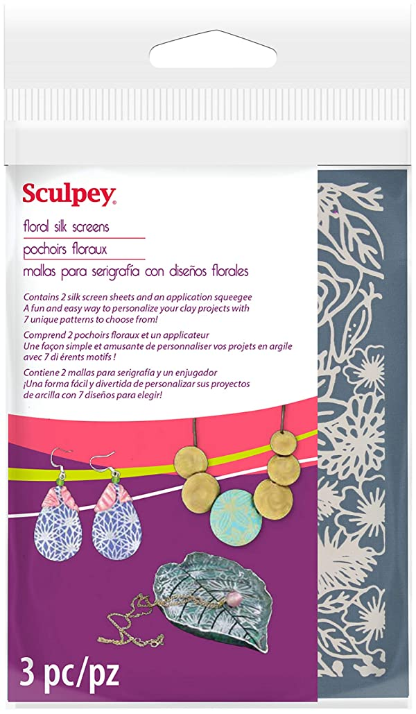 Sculpey AS2003 Silkscreen Kit-Florals (Color: Florals)