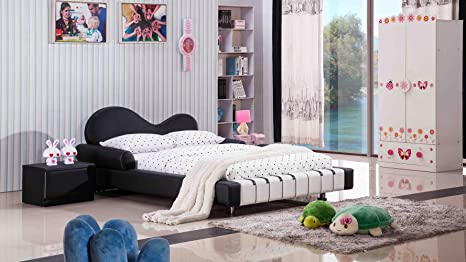 Piano Leather Upholstered Black and White Kid's Twin Bed