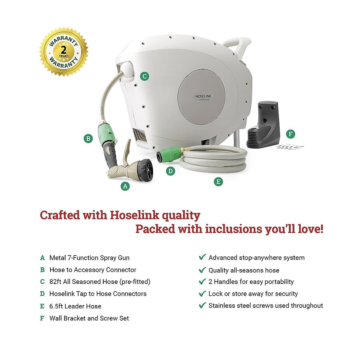 Hoselink Retractable Hose Reel 82 feet with Metal 7-Function Spray Gun