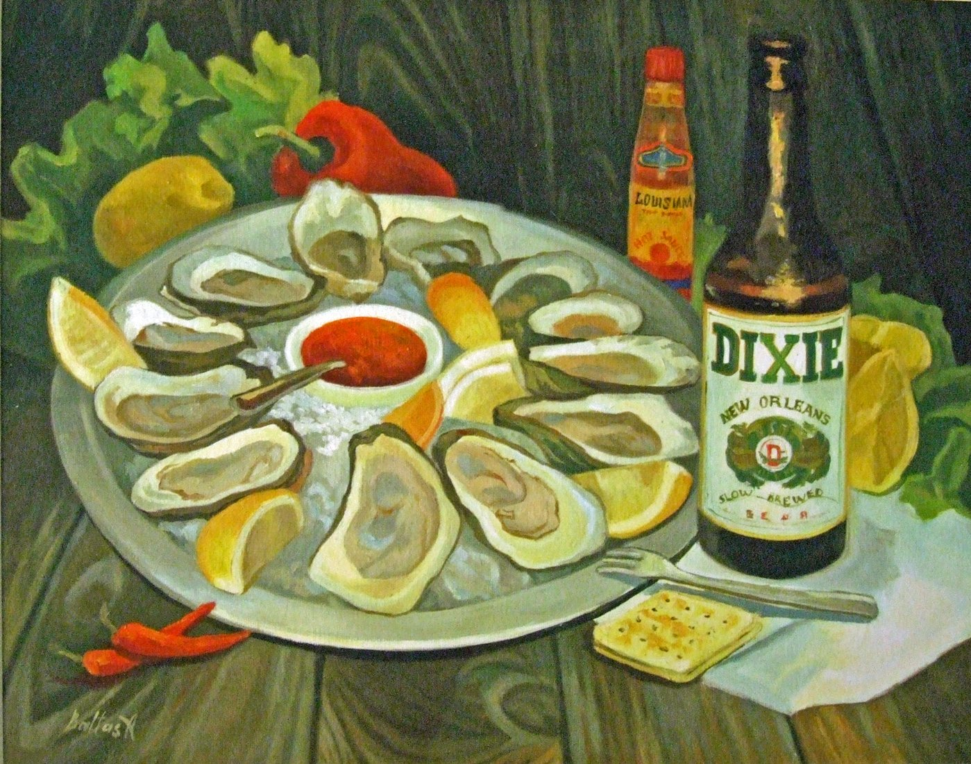 Oysters and Dixie Beer by Alla Golets Baltas