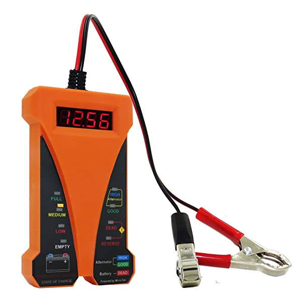 MOTOPOWER MP0514D 12V Digital Battery Tester Voltmeter and Charging System Analyzer with LCD Display and LED Indication - Orange Rubber Paint (Color: d) - Orange Version)