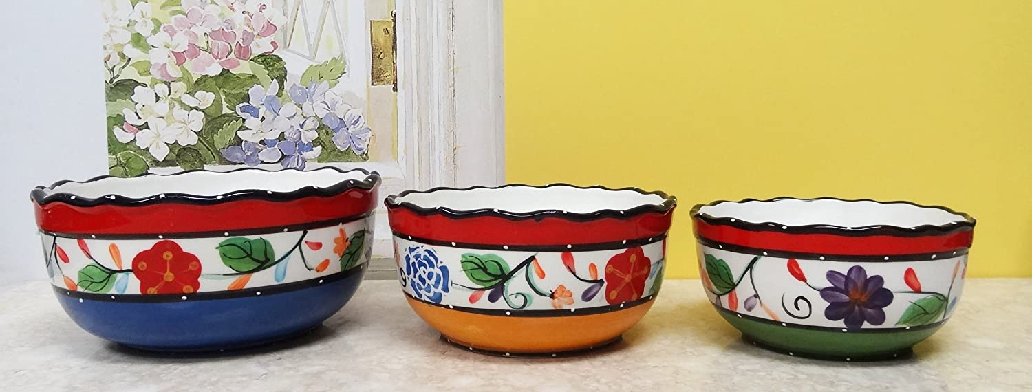 Viva Collection Hand-Painted Ceramic 3pc Serving Bowls Set