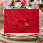 Wishmade 100x Elegant Red Laser Cut Wedding Invitation Cards Kits with Lace Bow Paper Cardstock for Bridal Shower Engagement Birthday Baby Shower Quinceanera(set of 100pcs)