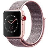 VATI Watch Sport Loop Band, Fastener Adjustable Closure Wrist Strap Lightweight Breathable Nylon Replacement Band for Apple Watch Nike+, Series 3/2/1, Sport, Edition (38MM, Pale Pink & Pink Sand) (Color: Pale Pink & Pink Sand, Tamaño: Watch 38MM)