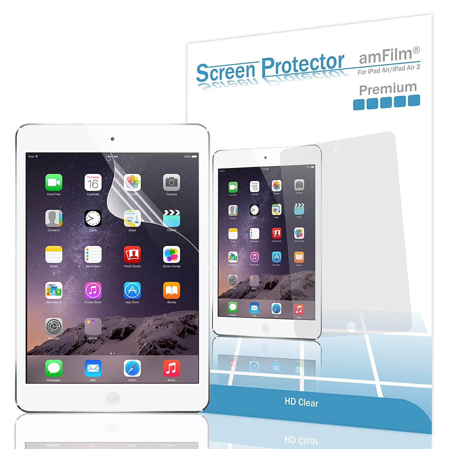 amFilm iPad Pro 9.7 inch/iPad Air Screen Protector HD Clear for Apple iPad Air 2, iPad Air, iPad Pro 9.7 inch 2016 (2-Pack)