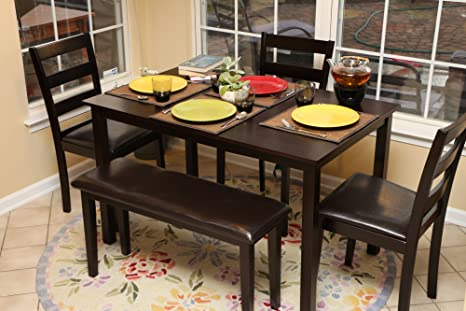 5 piece dining set with bench 2