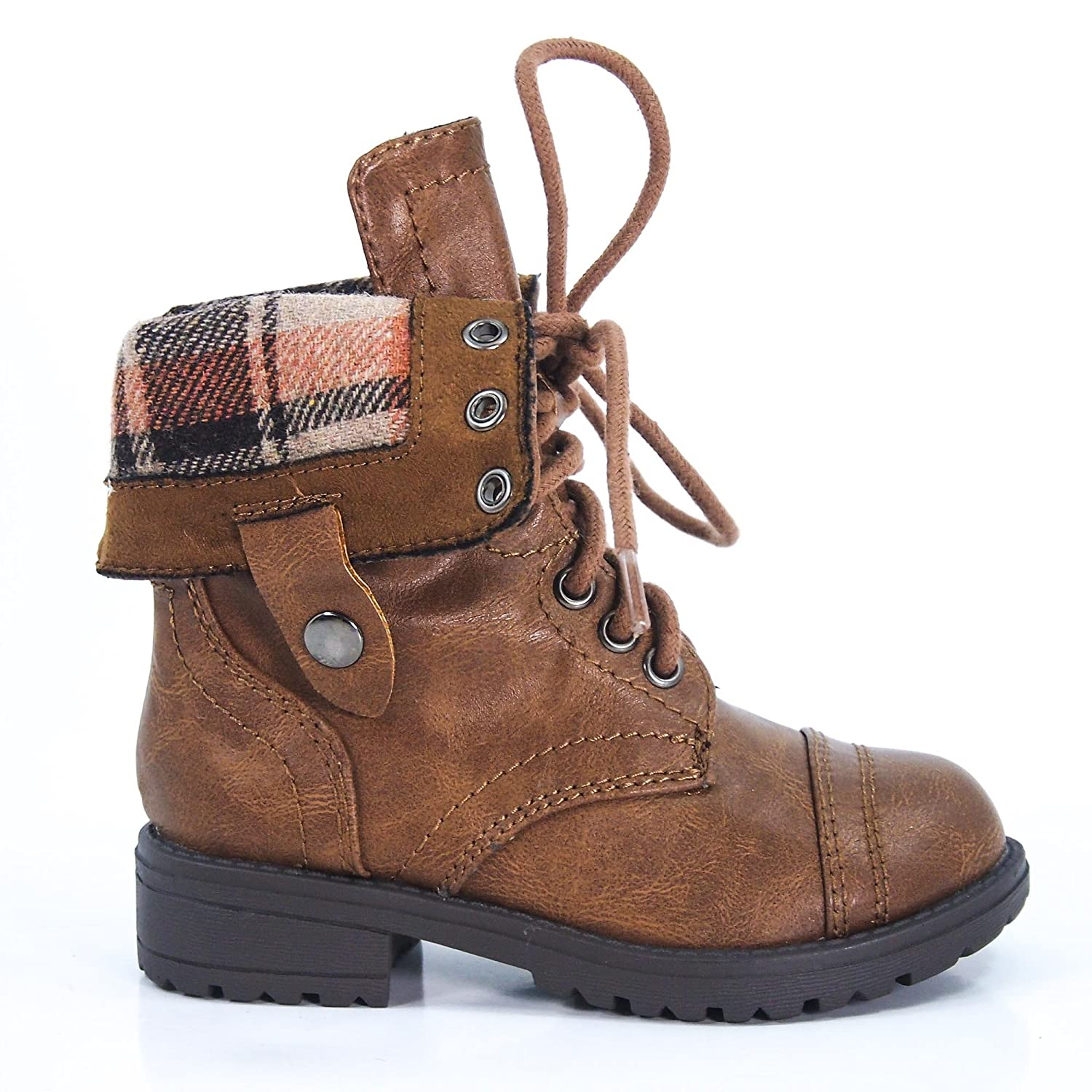 OraleeII Fold Down Military Boot Winter Lace-Up Sturdy Children's Shoe
