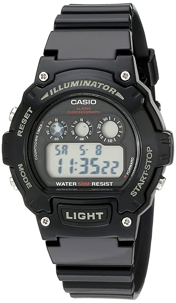 Casio Kids W-214HC-1AVCF Classic Digital Display Quartz Black Watch (Color: Black)