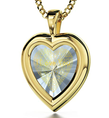 Gold Filled Love Pendant with I Love You in 120 Languages – Inscribed in 24kt Gold on Cubic Zirconia Gemstone – Romantic Jewelry