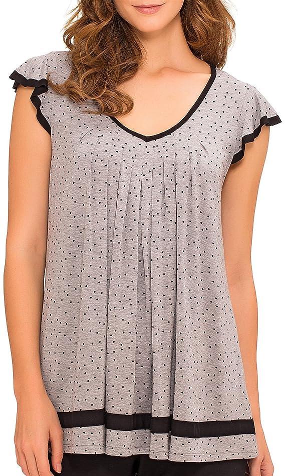 Ellen Tracy Plus Essentials Dot Print Pajama Top