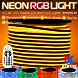 KERTME RGB LED Neon Light Strip, AC110-120V/Flexible/Waterproof/Dimmable/Multi-Colors/Multi-Modes Rope Light + 24 Keys Remote for Home/Garden/Building Decor (98.4ft/30m, RGB) (Color: RGB, Tamaño: 30m/98.4ft)