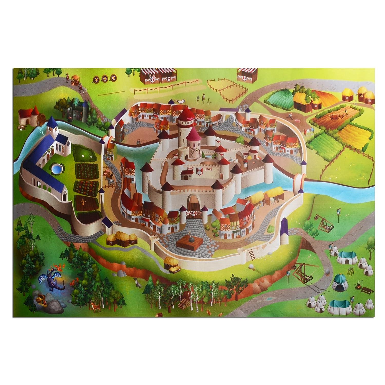 Waschbarer Kinderspielteppich in 3 Größen | phtalat-frei | Motiv Burg | 100 x 150 cm bestellen