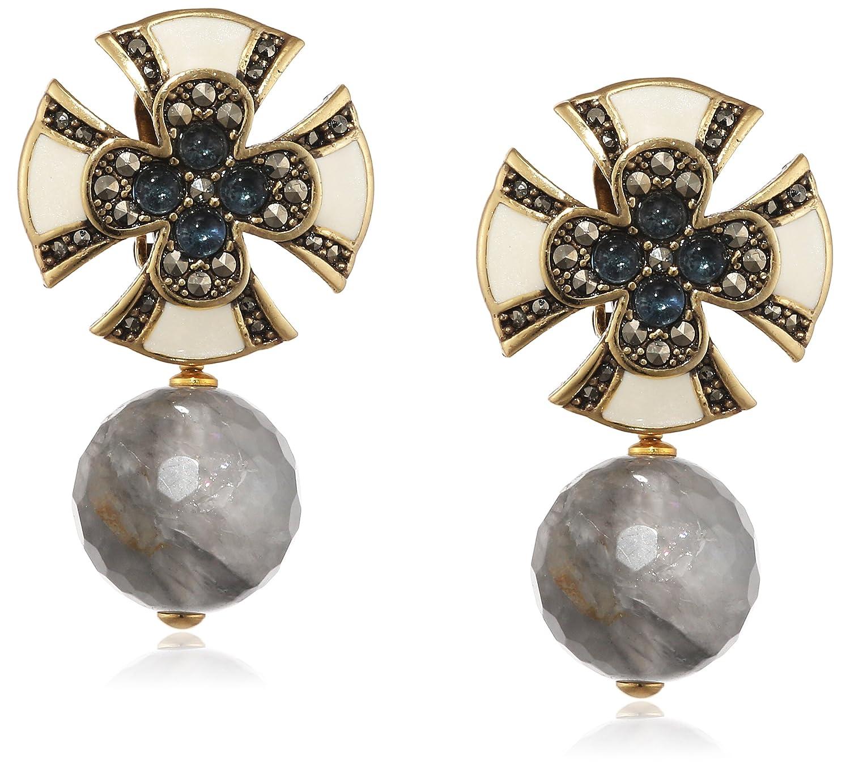 Misis Damen-Ohrringe Artificialia 925, Silber, Vergoldet, Markasit gold Rundschliff Saphir Achat 3.5 cm – OR09072BL günstig