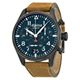 Alpina Startimer Pilot Chronograph Blue Dial Brown Leather Mens Watch AL-372N4FBS6 (Color: Blue)
