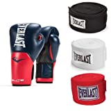 Everlast Boxing Gloves Size 16 Ounces, Navy/Red & 120 Inch Hand Wraps (3 Pack) (Color: Navy/Red, Tamaño: 16 ounces)