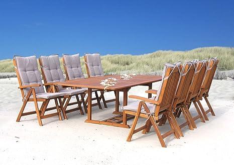 Garten Möbelgruppe Cuba 17tlg Sand mit ausziehbarem Tisch
