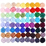 Fuyit Wool Roving 72 Colors Needle Felting Wool Fibre Hand Spinning DIY Craft Materials (Color: 72 Colors)