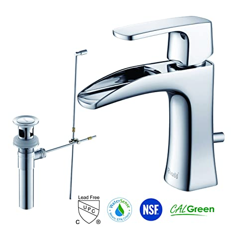 RIVUSS FBS-300-CH Carrion Lead Free Solid Brass Single Lever Bathroom Faucet with Pull Out Waste, Chrome
