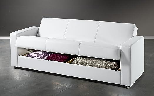 Dafnedesign.com - Divano letto reclinabile con vano contenitore e due cuscini una piazza e mezza in similpelle bianco. Divano letto trasformabile 3 posti con meccanismo clic-clac e imbottitura a molle ortopediche. Apribile, grande vano contenitore che occ