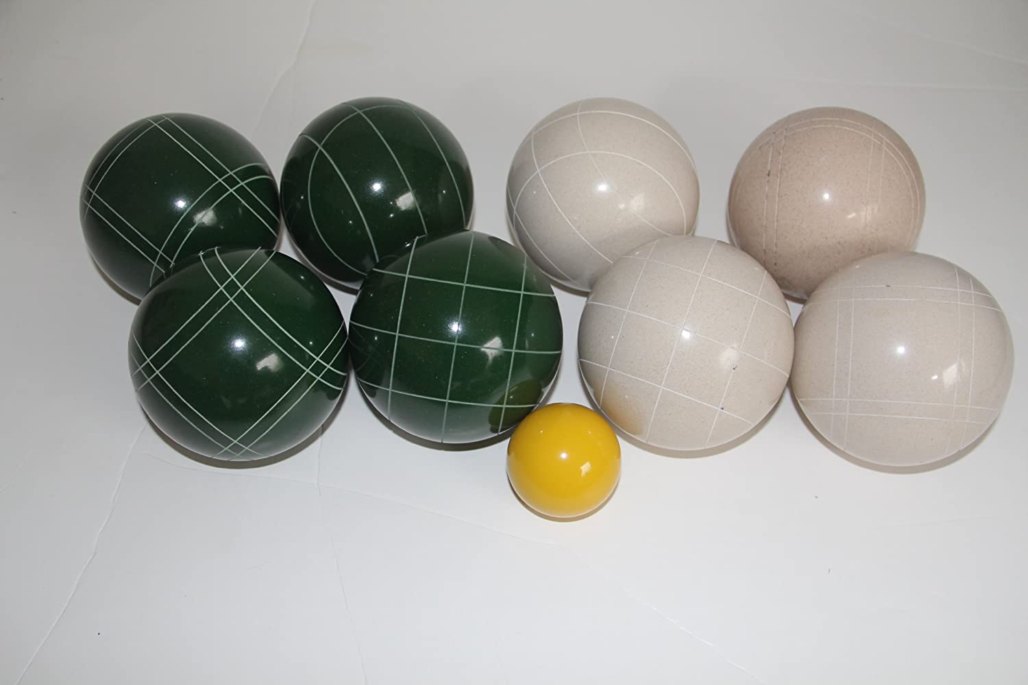 Premium Quality EPCO Tournament Bocce Set - 110mm White and Green Bocce Balls...