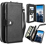 PASONOMI Galaxy S8 Plus Wallet Case, Samsung Galaxy S8+ / S8 Plus PU Leather Protective Shell Detachable Folio Flip Holster Carrying Case with Card Holder for Samsung Galaxy S8+ Plus 2017 (Black) (Color: Black, Tamaño: Samsung Galaxy S8 Plus)