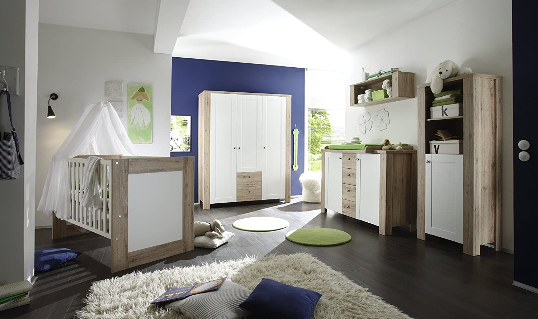 Babyzimmer mit Bett 70 x 140 cm Eiche Sanremo hell/ weiss matt online kaufen