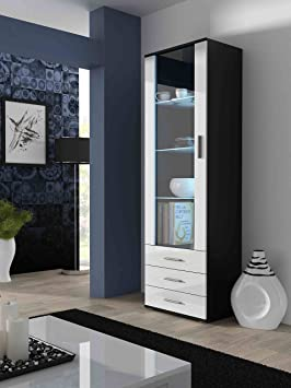 BMF SOHO - STANDING DISPLAY CABINET - BLACK WHITE TALLBOY